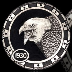 Andy Gonzales - The Attack Hobo Nickel, Coin Art, World Coins, Coin Collecting, Wood Carving, Art Forms, Paper Cutting, Bald Eagle, Sculpture Art