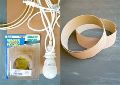 "Simple DIY Veneer Pendant Lamp | Shelterness// veneer edging  uses 1 roll of 2"" x 8' edging // like to see this supply for other uses"