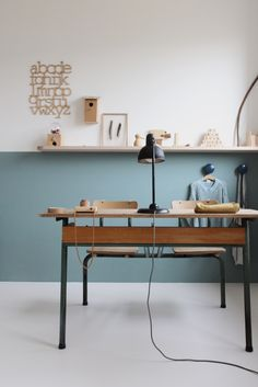 Not sure what colors to paint your home office? Check these best recommendations of home office paint color ideas to beautify room & increase productivity. Office Paint Colors, Home Office Colors, Half Painted Walls, Style Deco, Kid Spaces, Office Spaces, Kids Bedroom, Kids Rooms, Bedroom Ideas