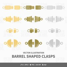 Barrel Jewelry Clasps Vector Illustrations - ai, eps, pdf, png by VectorBeads on Etsy