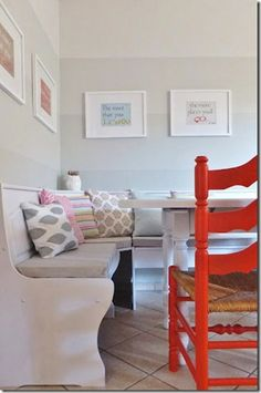 dining nook with ombre painted stripe walls (18) Dining Nook, Dining Room Walls, Living Room Paint, Painting Stripes On Walls, Paint Stripes, Wall Stripes, Grey Stripes, Interior Paint Colors, Interior Walls