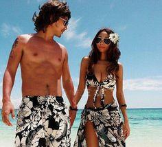 Women 3-Piece Halter Bikini Set Men Beach Short Couple Lover Swimwear Swimsuit