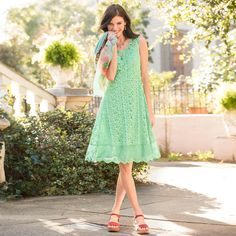 """TEA DANCE DRESS--Our vintage-inspired lace dress is the picture of feminine charm. Scoop neck. Fully lined. Knit slip included. Nylon/cotton. Hand wash. Imported. Exclusive. Sizes 2 to 16. Approx. 40-1/2""""L."""
