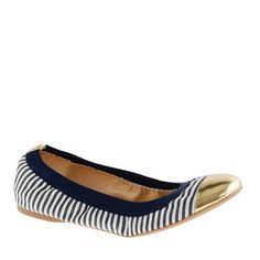 Navy, white and gold ballet flats.  Who doesn't love a nautical theme?