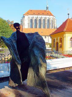 Prague, Czech Republic; Františkánská zahrada; Josef Klimeš- fontána ; chrám Panny Marie sněžné