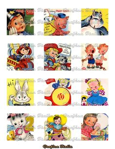 2x2 inch CUTE CHILDREN Vintage Instant Digital Download - Printable Twinchies Ephemera Images - Pendants, Magnets, Tiles, Cards, Hang Tags, - $2.00