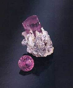 Pink tourmaline with attached lepidolite mica from the Stuart Lithia mine