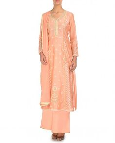 Embroidered Salmon Peach Palazzo Suit