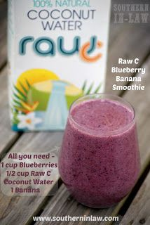 Low Fat Blueberry Banana Smoothie with Raw C Coconut Water