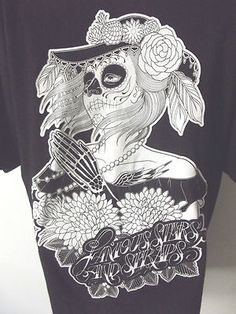 Famous Stars Straps Tattoo Skeleton Lady T Shirt Punk Halloween Mens Large Famous Stars And Straps, Halloween Men, Skeleton, Bones, Tattoo Ideas, Shirt Designs, Punk, T Shirts For Women, My Love