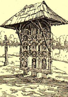 Atelierul de arhitectură Liliana Chiaburu: Troiţe vechi de lemn (2) Wooden Crosses, Religion, Romania, Gazebo, Diy And Crafts, Arch, Outdoor Structures, Traditional, Troy