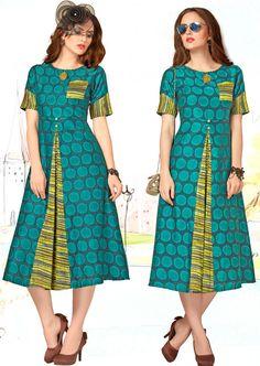 Rama green and yellow ready made kurti. Fabric - Cotton print and rayon. Frock For Women, Edwardian Dress, Frocks, Party Wear, Latest Kurti, Teal, Short Sleeve Dresses, Yellow, Tunics