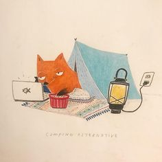 You stay outside, I'm staying inside-! The alternative way to camping of Mr.Fox. #MrFox #drawing #illustration #colorpencil #camping