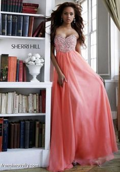 Size 4 Coral Sherri Hill 3908 Long Dress