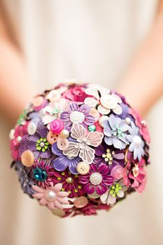 enamel brooch and button bouquet by PumpkinandPye on Etsy, £100.00