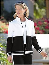 French Terry Colorblock Knit Jacket | Drapers Colorblocking has caught our attention, and we're so happy this trend is here to stay. It makes this French terry jacket so eye-catching, especially with the metallic shimmer strip... Read More >>relax