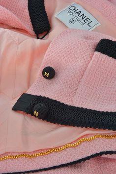 pink vintage chanel | CHANEL Vintage Pink & Black Suit Jacket Blazer size FR 36 - 38 ...