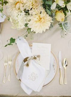 Ivory and Gold Place Setting with Monogram Napkins | Jose Villa Photography | Ethereal Neutral Wedding Ideas for Summer #wedding #monogram #placesetting #gold