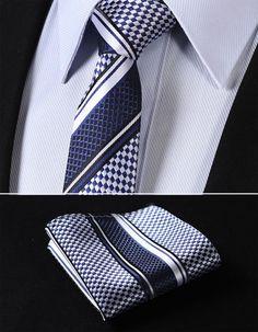 "TS4017B7 Navy Blue Skinny Stripes 2.75"" 100%Silk Woven Slim Skinny Narrow Men Tie Necktie Handkerchief Pocket Square Suit Set"