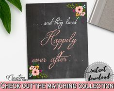 Black And Pink Chalkboard Flowers Bridal Shower Theme: Happily Ever After Sign - happy sign, floral shower, party supplies, prints - RBZRX #bridalshower #bride-to-be #bridetobe
