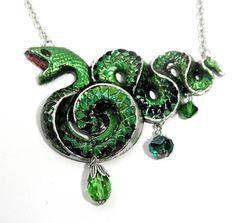 Victorian snake necklace, art nouveau jewellery, green snake pendant, handpainted jewellery, gothic necklace, viper, snake jewellery