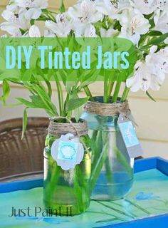 DIY Tinted Jars with Mod Podge Sheer Colors - tinted on the outside of the jar so it can be used as a vase!