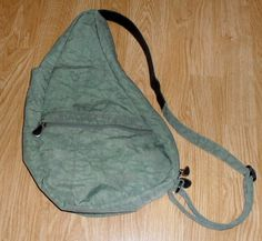 AMERIBAG Healthy Back Bag small Green nylon handbag purse ergo EUC #Ameribag #BackpackStyle