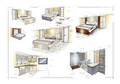 Study of owner's cabin and main salon through various forms of sketch studies.