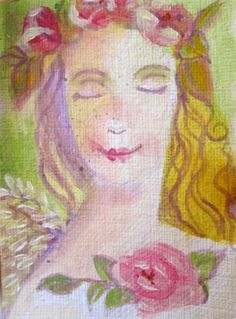 ACEO Original Sweet Angel Painting Shabby Chic