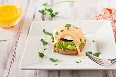 Chipotle Hollandaise Sauce over Avocado Eggs Benedict
