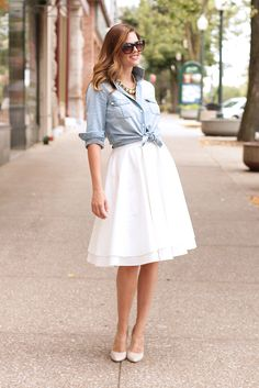 What I Wore: Beautiful Day, Jessica Quirk, Chambray, What to wear with a white skirt, whatiwore.tumblr.com