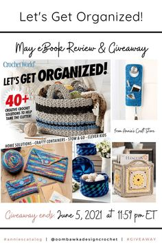 Let's Get Organized - Annie's Review and Giveaway. Giveaway ends June 5, 2021 at 11:59 pm ET. Open worldwide where allowed by law. Void in Quebec. Giveaway not affiliated with Instagram or Facebook. Double Crochet Decrease, Half Double Crochet, Single Crochet, World Organizations, Crochet Yarn, Crochet Hooks, Clever Kids, Crochet World, Simple Bags