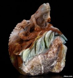 """4.7 """" Carved Chinese Amazonite Lizards Sculpture. Stone origin : China, via rikoo.com ( right side view )"""