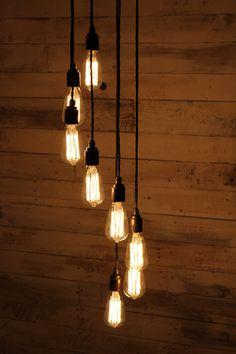 Dymchurch : Handmade Spiral Edison Pendant Light with Eight fittings for E27 Edison Screw Bulbs