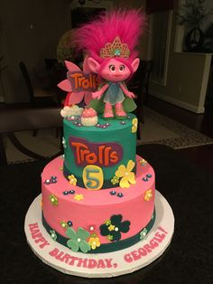 Georgie's turning FIVE and Trolls are her favorite....so her Troll cake just fit the bill!!!