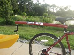 www.dumb-stick.com bicycle tow bar for towing your kayak,canoe,grocery cart or golf clubs behind your bicycle.