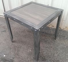 weathered side table Industrial furniture custom made by Industrial Evolution Furniture co.