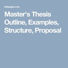 How to do master thesis proposal