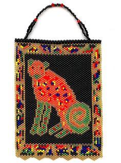 #beadwork  Confetti Cheetah Small Beaded Tapestry Wall Hanging