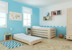 Cama apilable al ras del suelo, ideal para la filosofía Montessori.  Posibilidad de comrparla con colchón. #MueblesLUFE #Montessori #CamaApilable #CamaMontessori #Camas #Madera