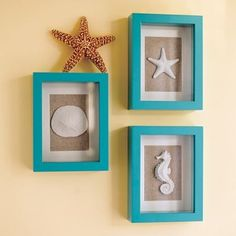 beach themed decorations Maybe with black frames instead ?