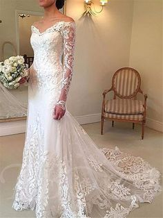 Mermaid Lace Wedding Dress with Long Sleeve Meerjungfrau Spitze Brautkleid mit Langarm Kostenloser Versand Lace Wedding Dress With Sleeves, Applique Wedding Dress, Lace Mermaid Wedding Dress, Long Sleeve Wedding, Perfect Wedding Dress, Mermaid Dresses, Lace Dress, Tulle Lace, Western Wedding Dresses