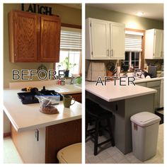 We Used To Have Dated Builder Grade Medium Oak Cabinets Until I Got A Hold  Of A Paint Brush! Now We Have A Fresh And Bright Kitchen With Painted ...