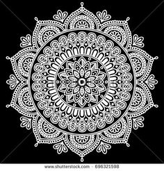 Vetor stock de Beautiful Vintage Ornament Can Be Used (livre de direitos) 147684041 - Mandala pattern white good mood - Colorful Rangoli Designs, Rangoli Designs Images, Small Rangoli Design, Beautiful Rangoli Designs, Mood Mandala, Mandala Doodle, Mandala Drawing, Mandala Art Lesson, Mandala Artwork