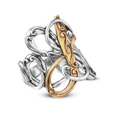Carolyn Pollack Jewelry // Coronation Sterling Silver and Brass Swirl Ring