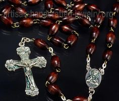 Red Wood Bead Rosary Necklace by Pithuahua on Etsy
