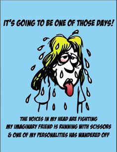 One Of Those Days - Postcard. Send one of these to a friend - stress relief! http://www.zazzle.com/one_of_those_days_postcard-239195571951911645 #postcard #stress #humor #humour #card