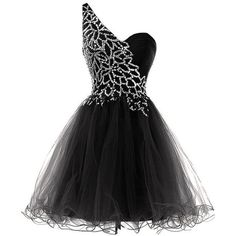 Classic A-line One Shoulder Knee Length Tulle Black Homecoming Dress... ❤ liked on Polyvore featuring dresses, one shoulder prom dresses, a line cocktail dress, sequin prom dresses, cocktail prom dress and a line dress