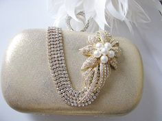 Gold Fabric Wedding Bag Clutch Formal Evening Bag with  Crystal Focal piece on Etsy, $64.00