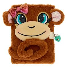 Claire's Maddie the Monkey Lock Plush Diary - Brown Apple Watch Original, Bratz Yasmin, Rainbow Lion, Notebook Cover Design, Unicorn Pictures, Stationary School, Cute Notebooks, Cute School Supplies, Sterling Silver Hoops